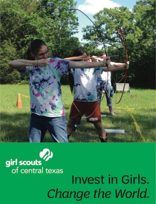Invest in Girls. Change the World. (Pictured are either a girl on a computer at Hackathon or girls trying archery, depending on whether you're on mobile or regular platform.)