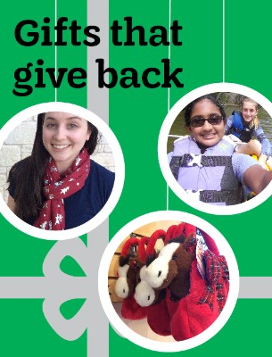Gifts that give back (images of holiday scarf, stuffed animal horse in a bag, girls canoeing)
