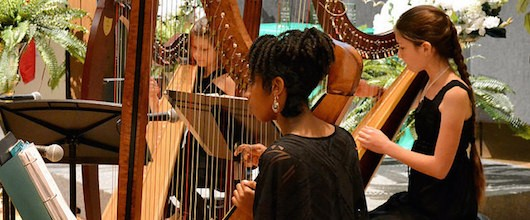 3 members of the Harp Ensemble performing at a Women of Distinction event