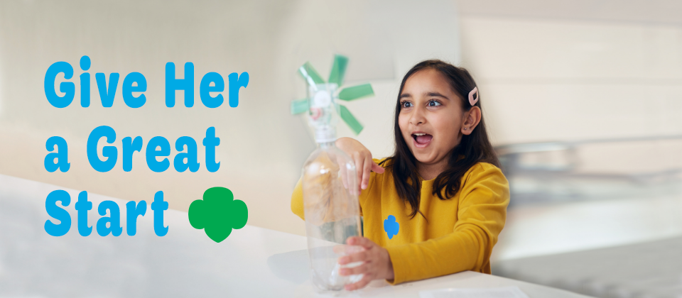 Girl creating a science experiment with a water bottle. Her facial expression is eyes wide open and mouth open, showing excitement. To the left of the girl is text that reads: Give Her a Great Start