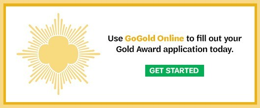 "Girl Scout Gold Award ""go gold"" logo"