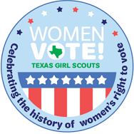 image of women's suffrage patch; has stars and stripes; state of Texas; red, white, and blue; Girl Scout green