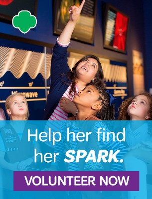 Help her find her spark. Volunteer with Girl Scouts today.