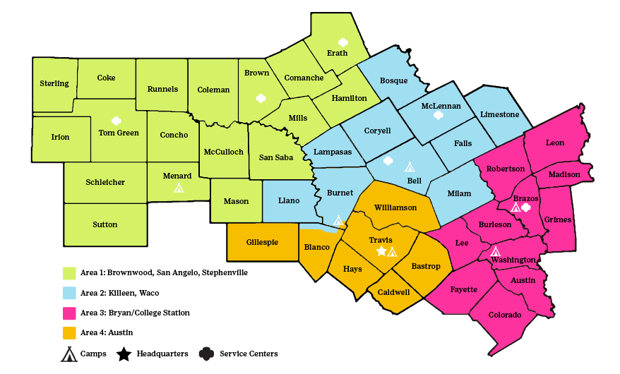 map of 46 counties covered by GSCTX