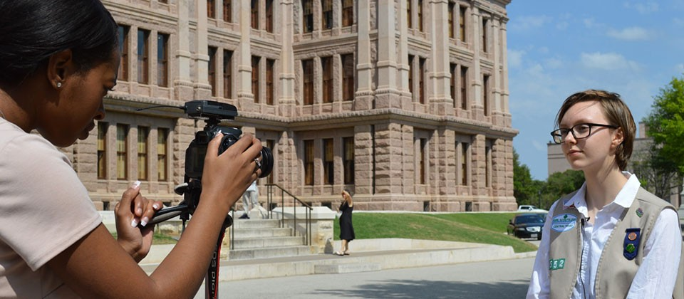 A member of our Press Corps troop – reporting live from the Texas State Capitol